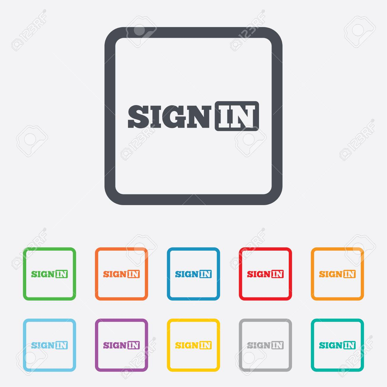 Sign In Icon. Join Symbol. Round Squares Buttons With Frame. Stock ...