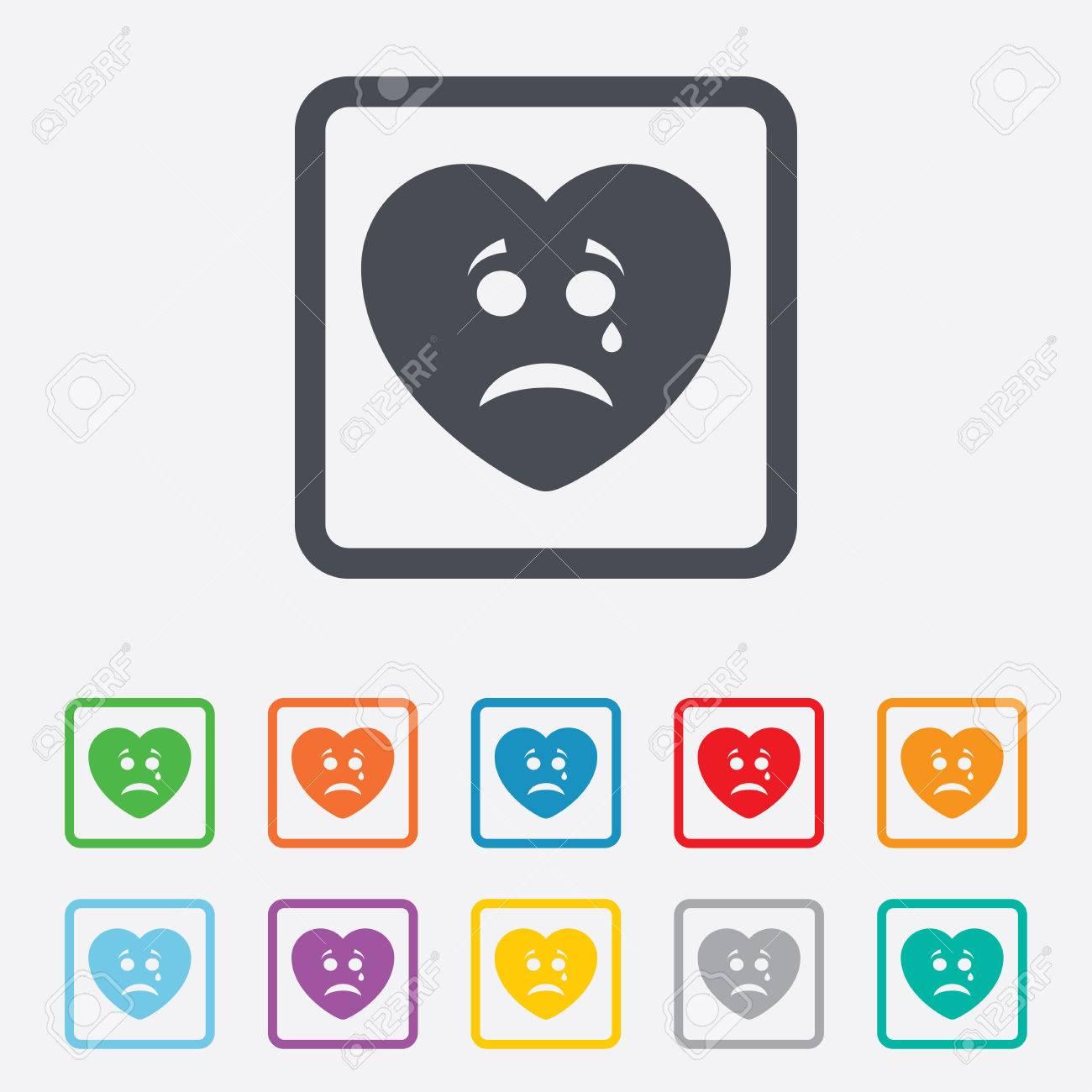 Cara del corazón triste con signo icono desgarro. Llorando sÃmbolo de chat.  Cuadrados botones