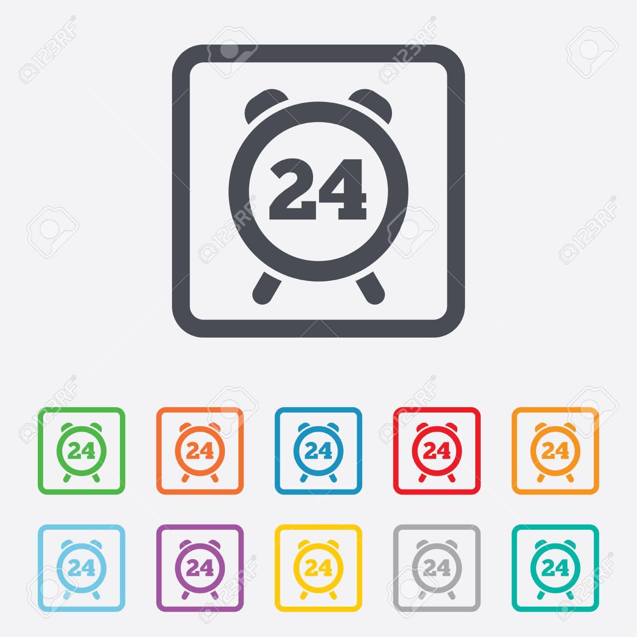 24 Horas Icono De Signo Momento. Símbolo De La Alarma Del Reloj ...