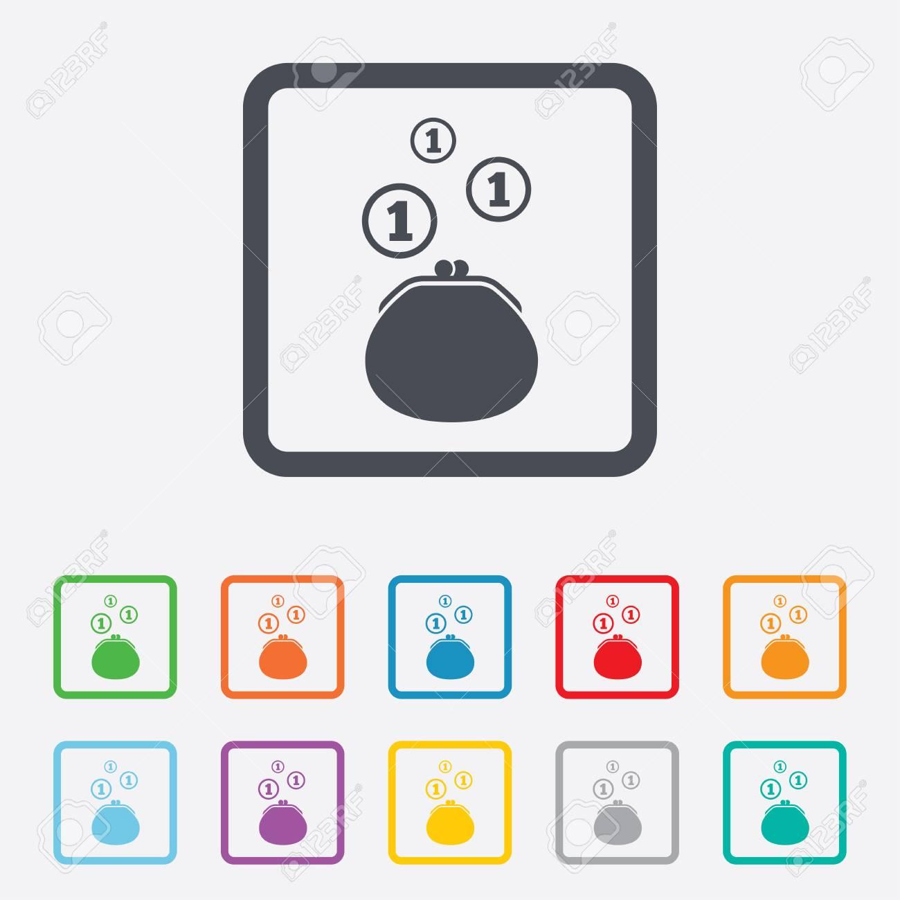 Wallet-Zeichen-Symbol. Geldbeutel-Münzen-Symbol. Runde Quadrate ...