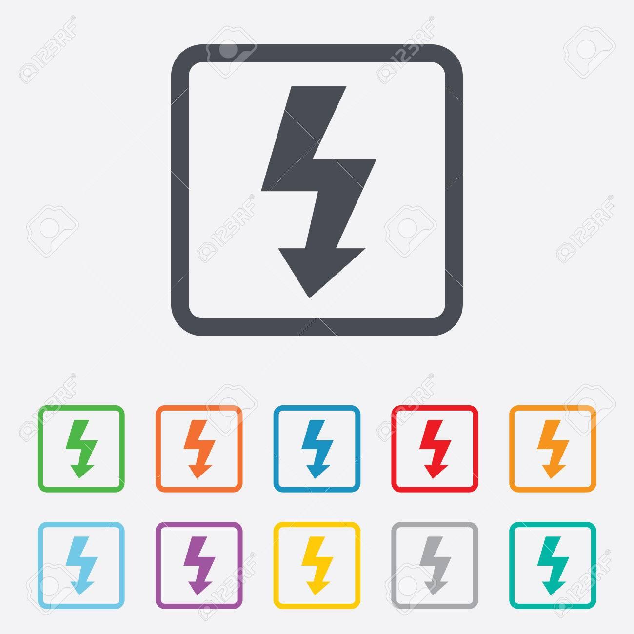 Photo Flash-Zeichen-Symbol. Blitzsymbol. Runde Quadrate Buttons Mit ...