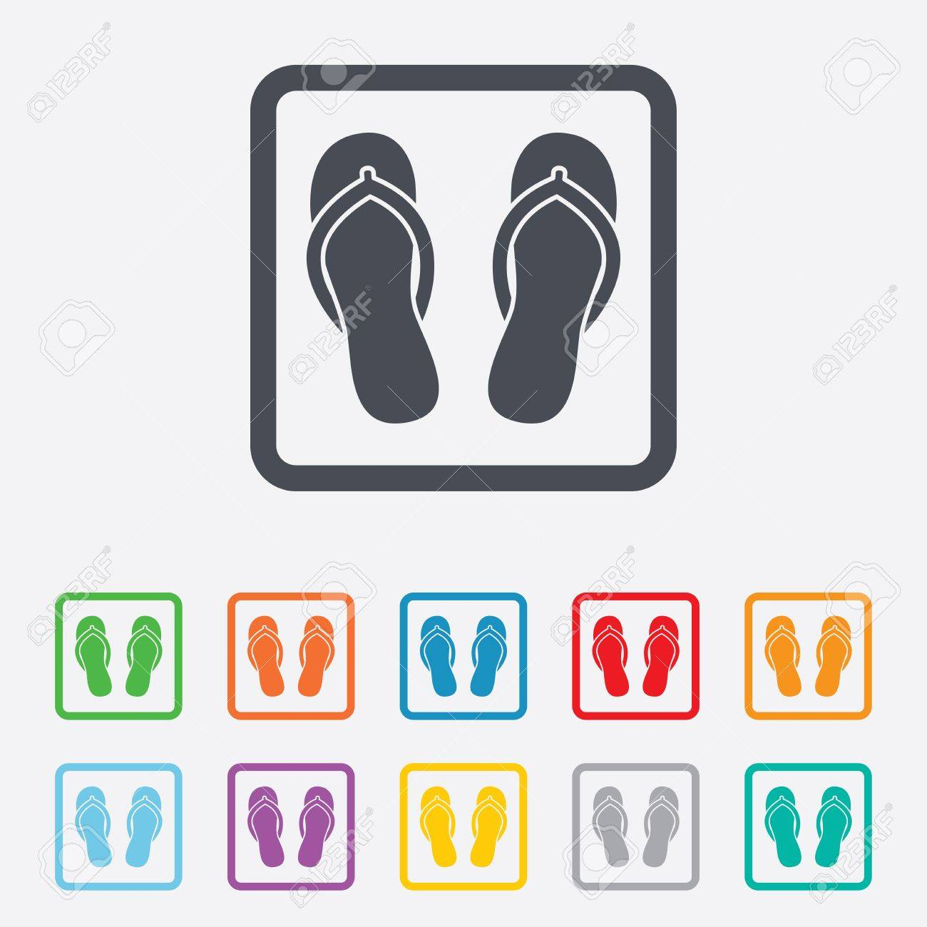 Flip-flops Sign Icon. Beach Shoes. Sand Sandals. Round Squares ...