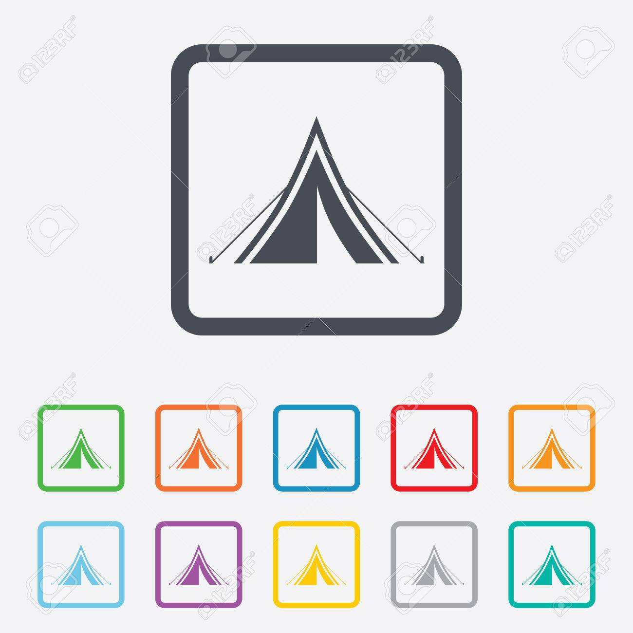 Tourist tent sign icon. C&ing symbol. Round squares buttons with frame. Vector Stock  sc 1 st  123RF.com & Tourist Tent Sign Icon. Camping Symbol. Round Squares Buttons ...