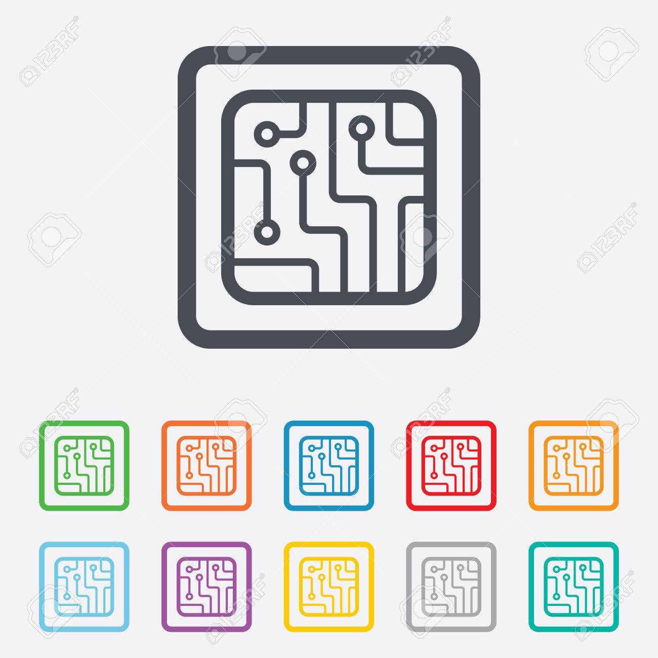 Circuit Board Sign Icon. Technology Scheme Square Symbol. Round ...