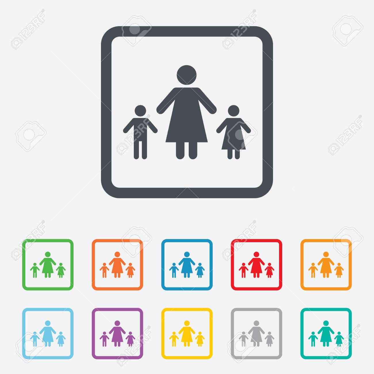 One parent family with two children sign icon mother with son one parent family with two children sign icon mother with son and daughter symbol buycottarizona