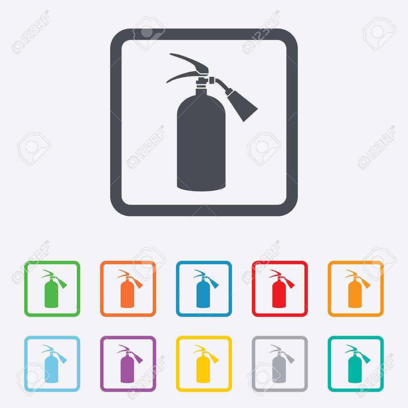 Fire Extinguisher Sign Icon Fire Safety Symbol Round Squares