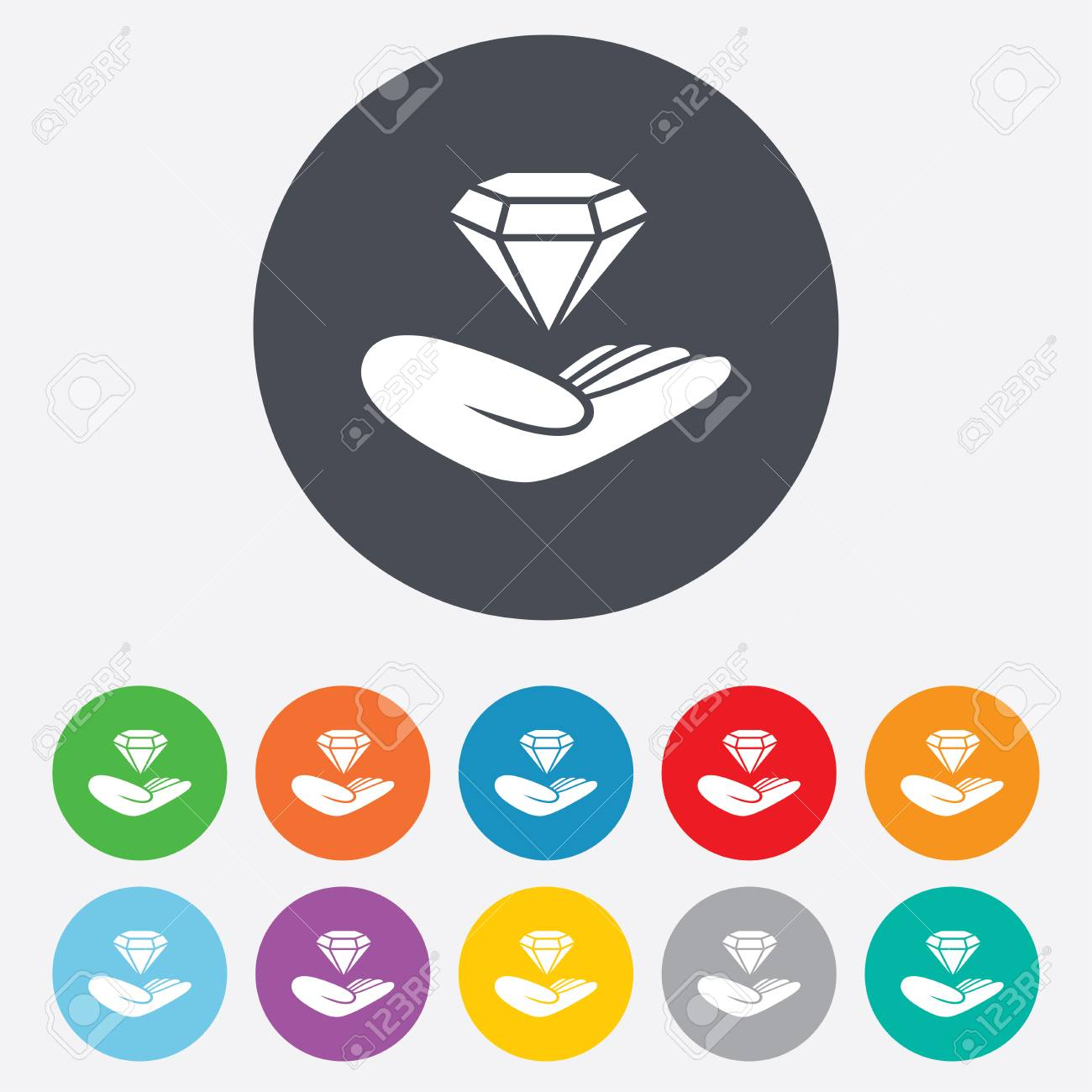 Jewelry insurance sign hand holds diamond symbol brilliant hand holds diamond symbol brilliant insurance round colourful 11 buttons biocorpaavc
