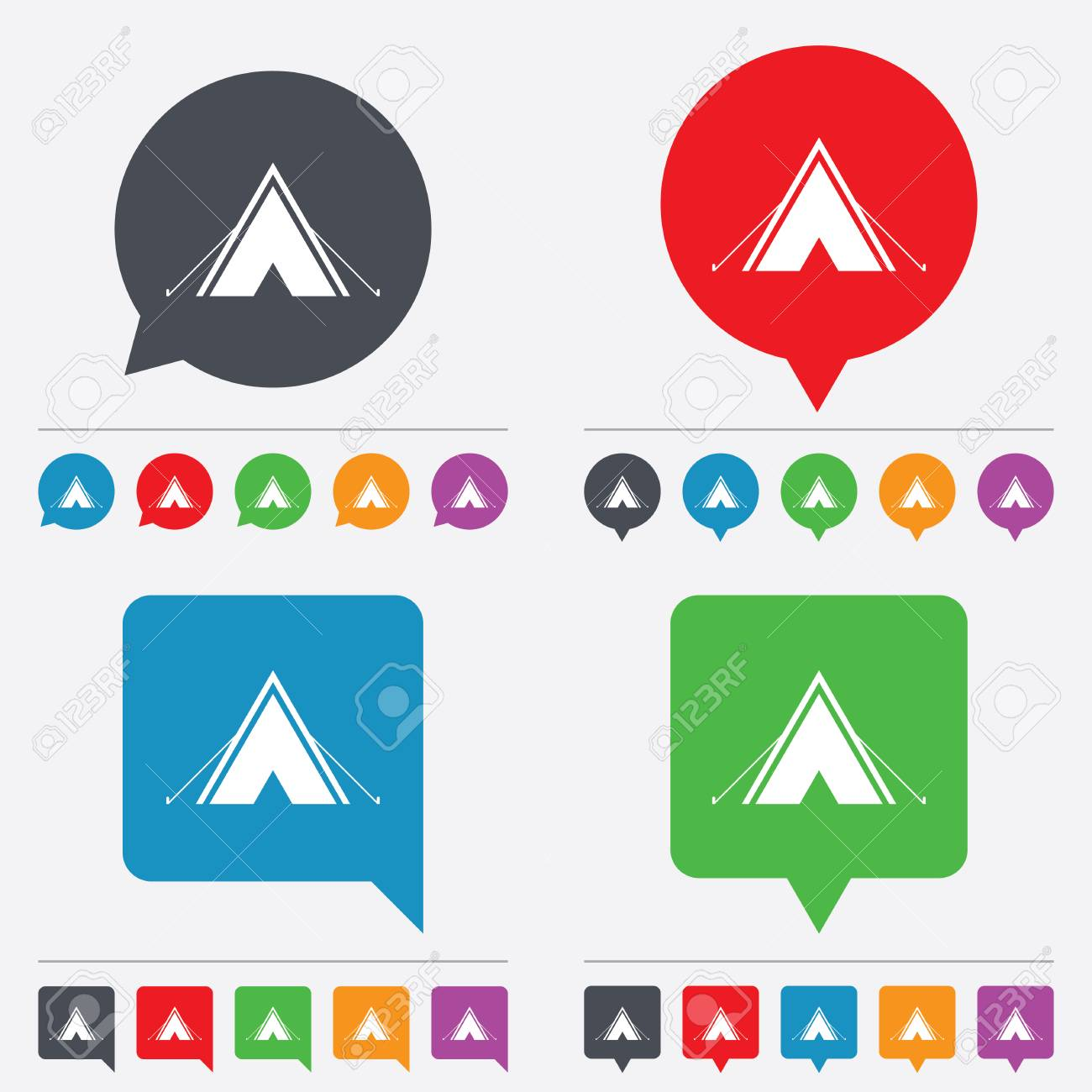 Tourist Tent Sign Icon Camping Symbol Speech Bubbles Information