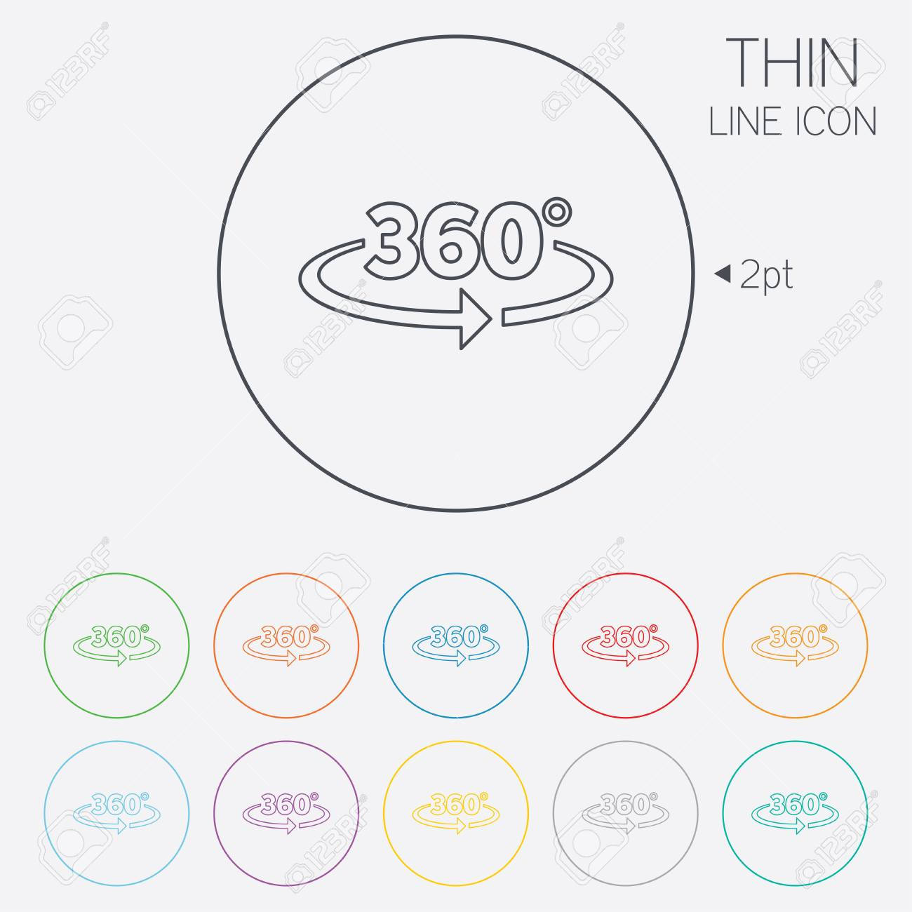 Angle 360 degrees sign icon geometry math symbol full rotation geometry math symbol full rotation thin line circle biocorpaavc Images
