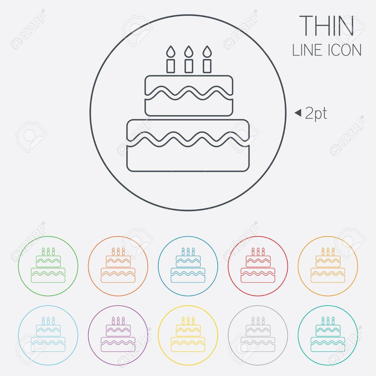 Birthday Cake Sign Icon Cake With Burning Candles Symbol Thin
