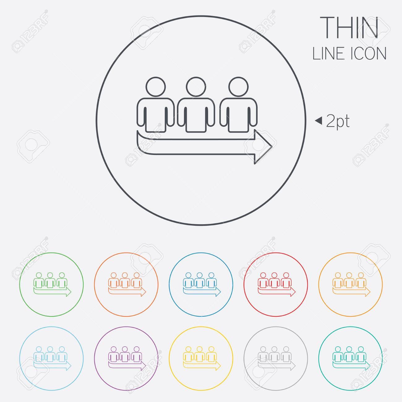 Queue Sign Icon Long Turn Symbol Thin Line Circle Web Icons