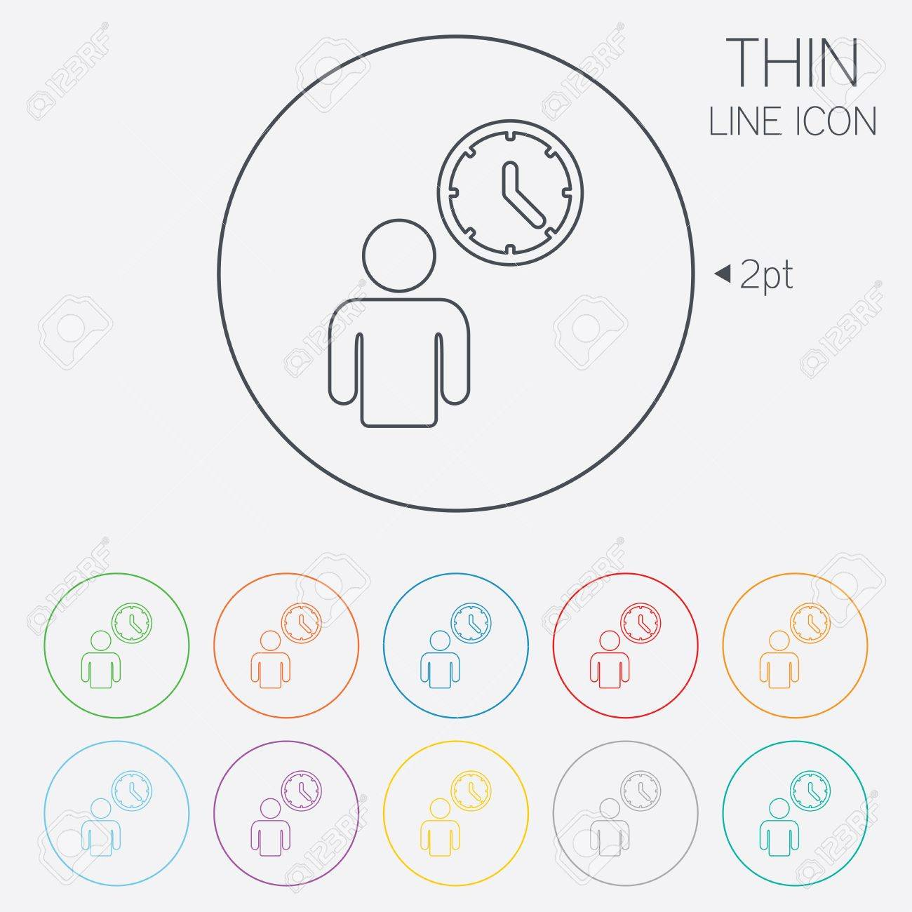 Person waiting sign icon time symbol queue thin line circle time symbol queue thin line circle web icons with ccuart Images