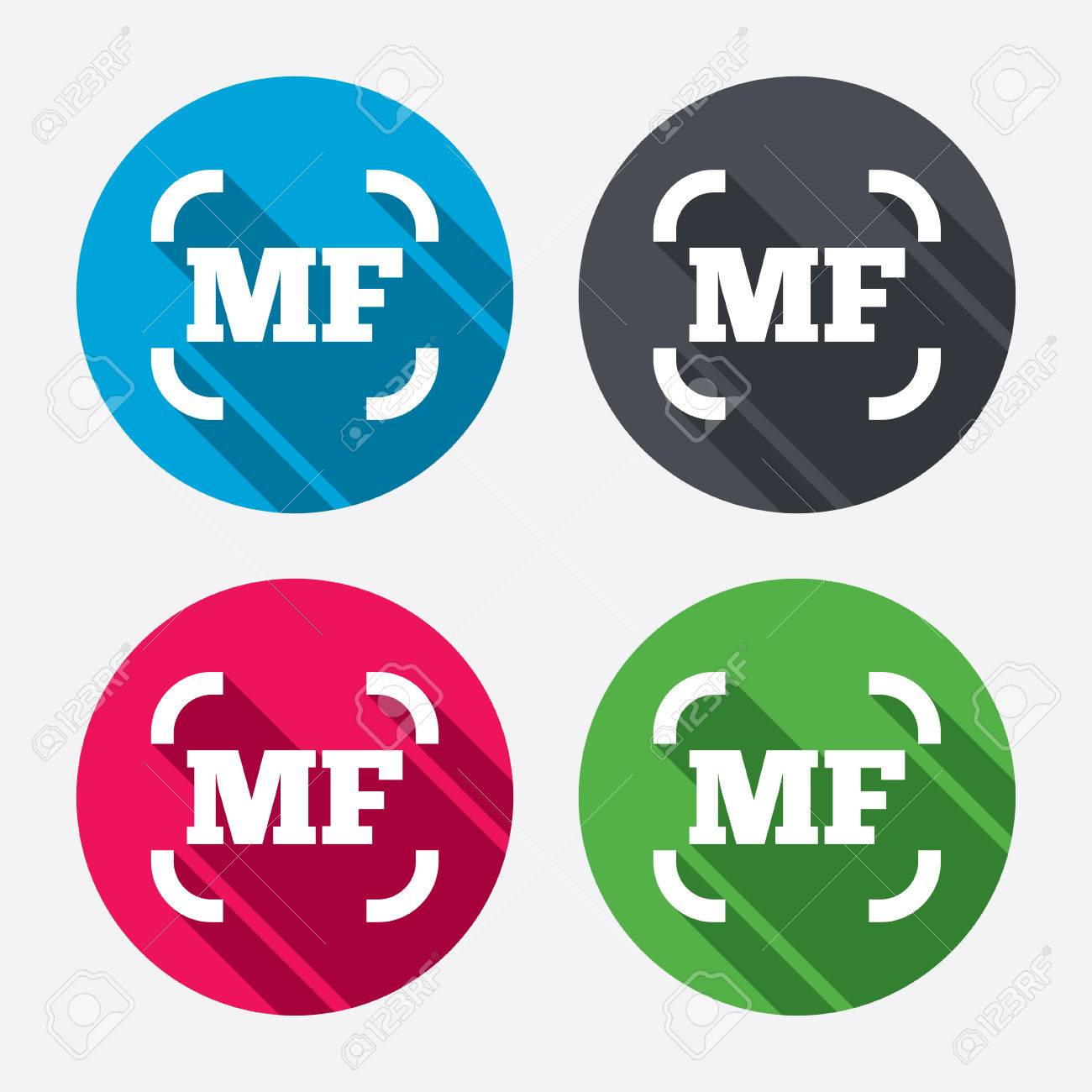 Manual focus photo camera sign icon  MF Settings symbol  Circle