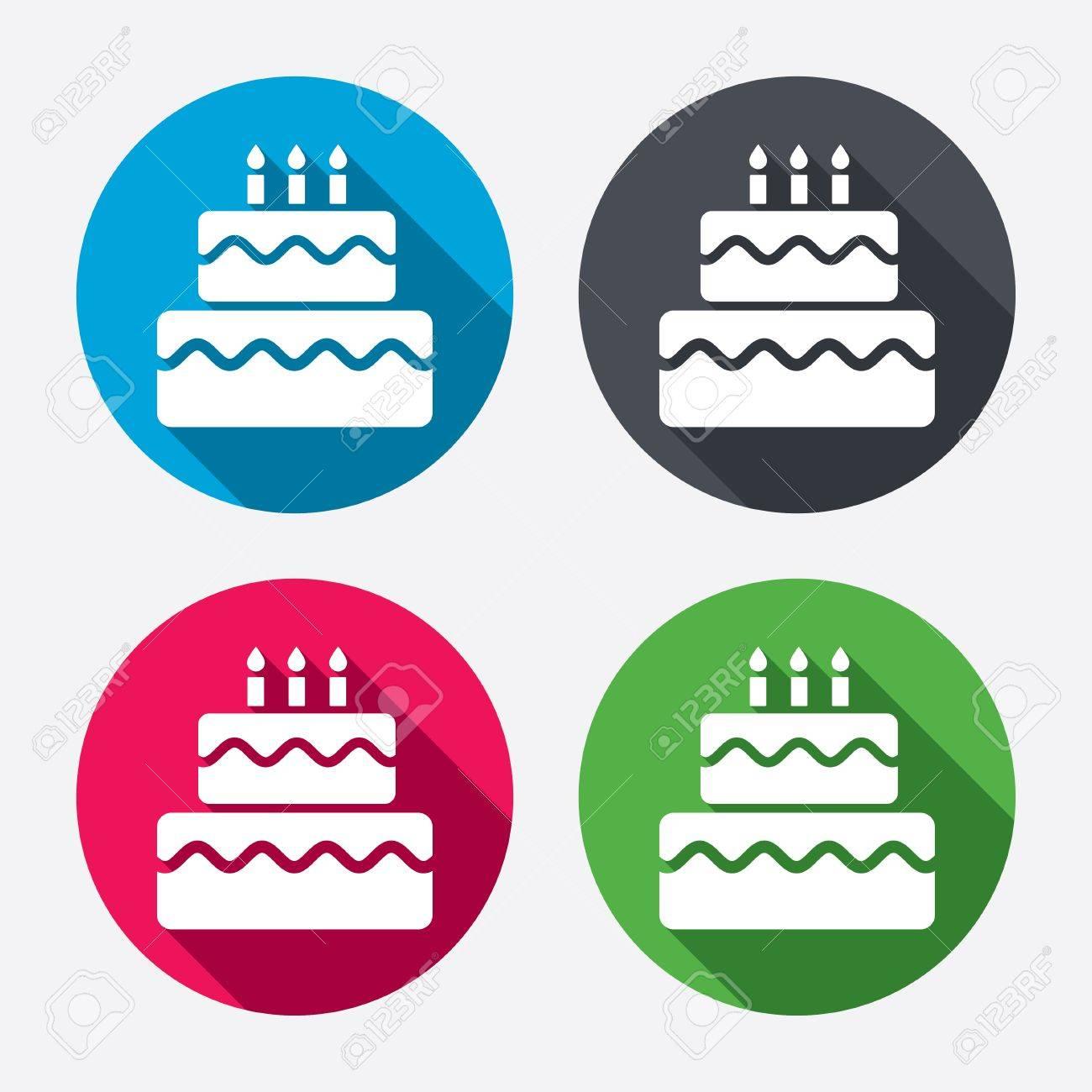 Birthday cake sign icon cake with burning candles symbol circle birthday cake sign icon cake with burning candles symbol circle buttons with long shadow buycottarizona