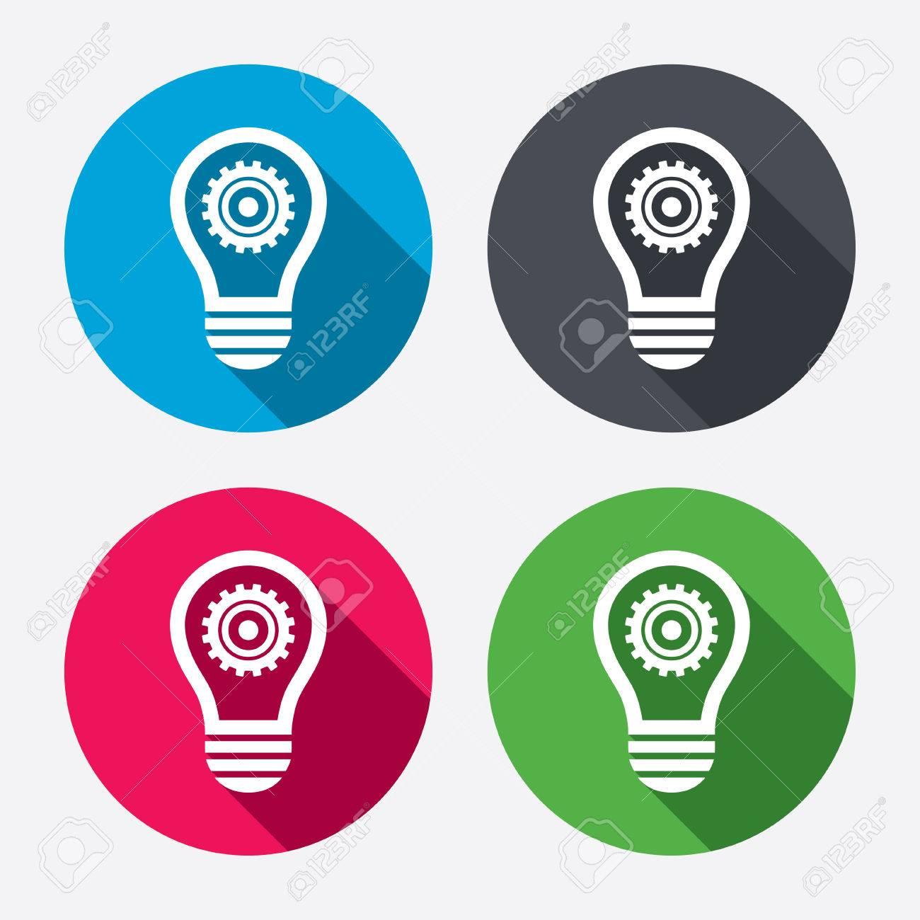 Lichtlampe Zeichen-Symbol. Glühbirne Mit Getriebe-Symbol. Idea ...