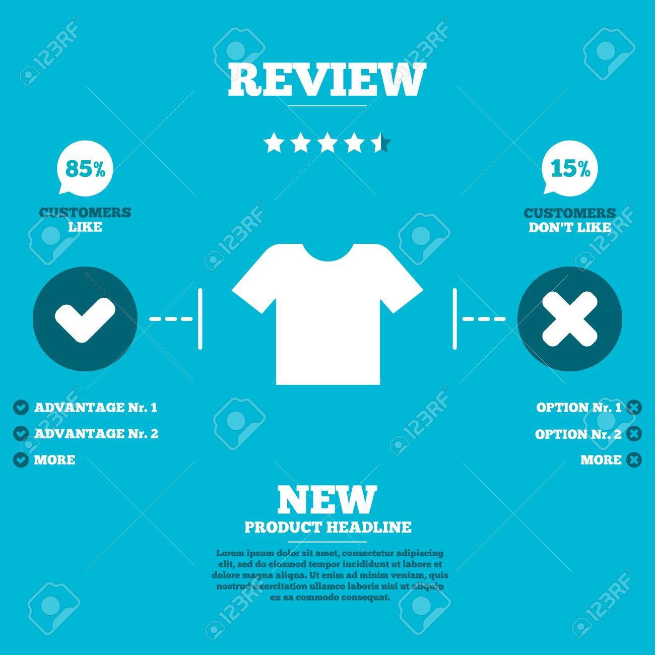 Review with five stars rating  T-shirt sign icon  Clothes symbol