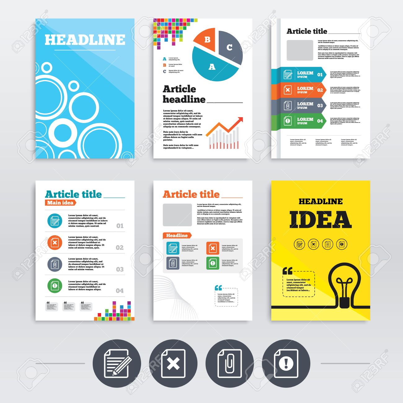 brochure design and a4 flyers file attention icons document