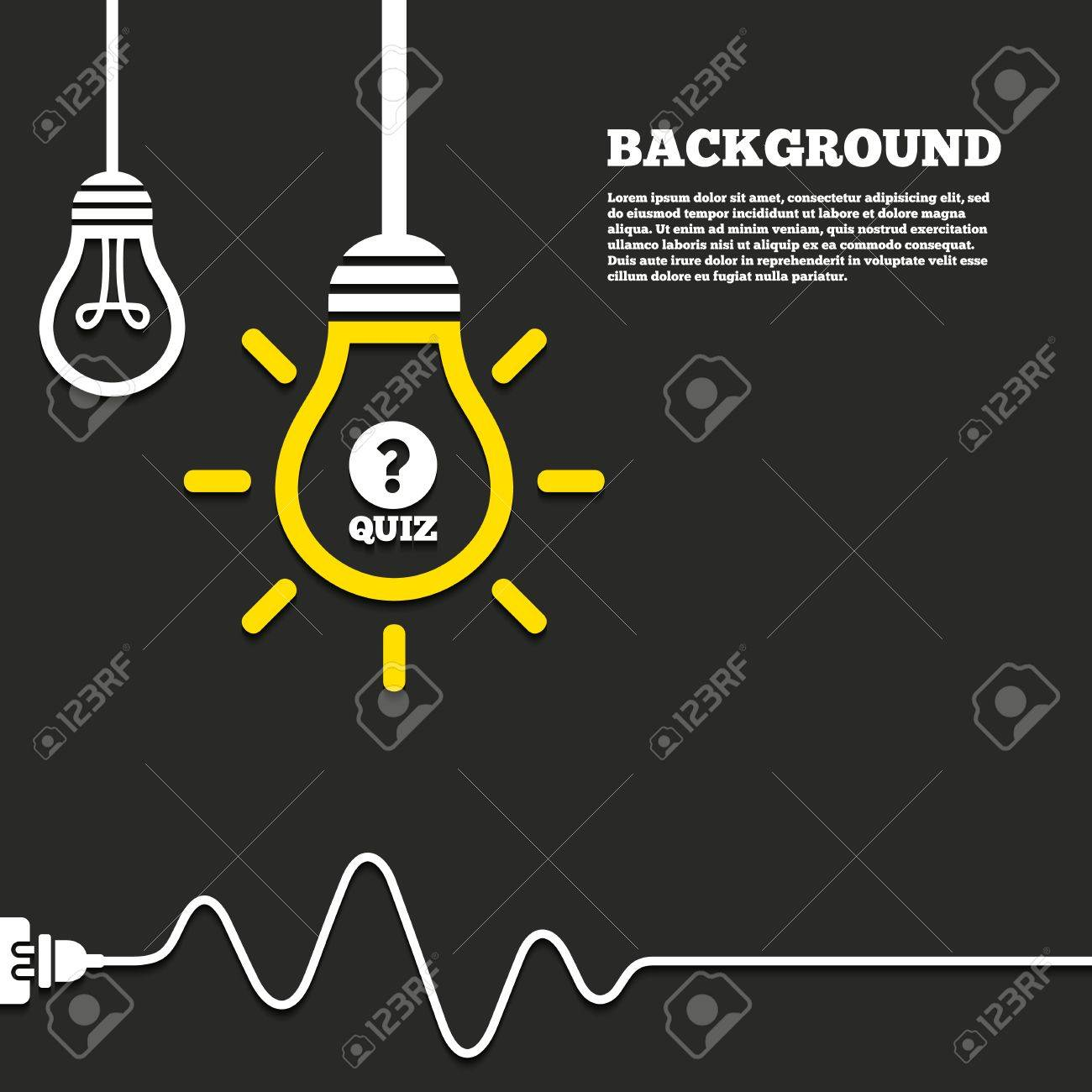 Idea Lamp With Electric Plug Background. Quiz With Question Mark ...