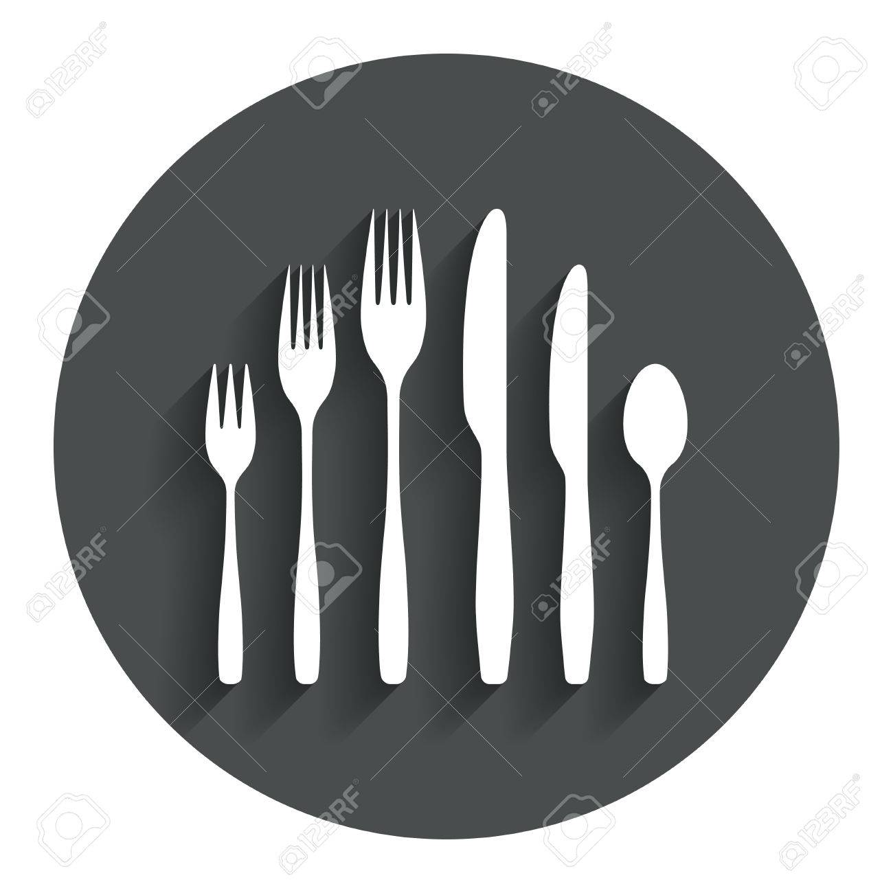 Dessert Fork Knife Teaspoon Sign Icon Cutlery Collection Set