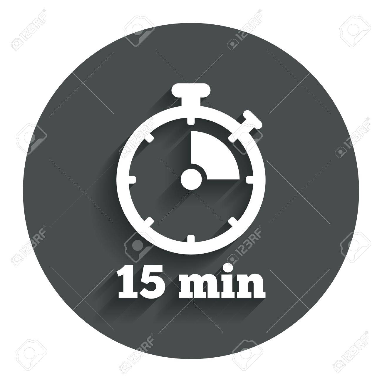 timer sign icon 15 minutes stopwatch symbol gray flat button