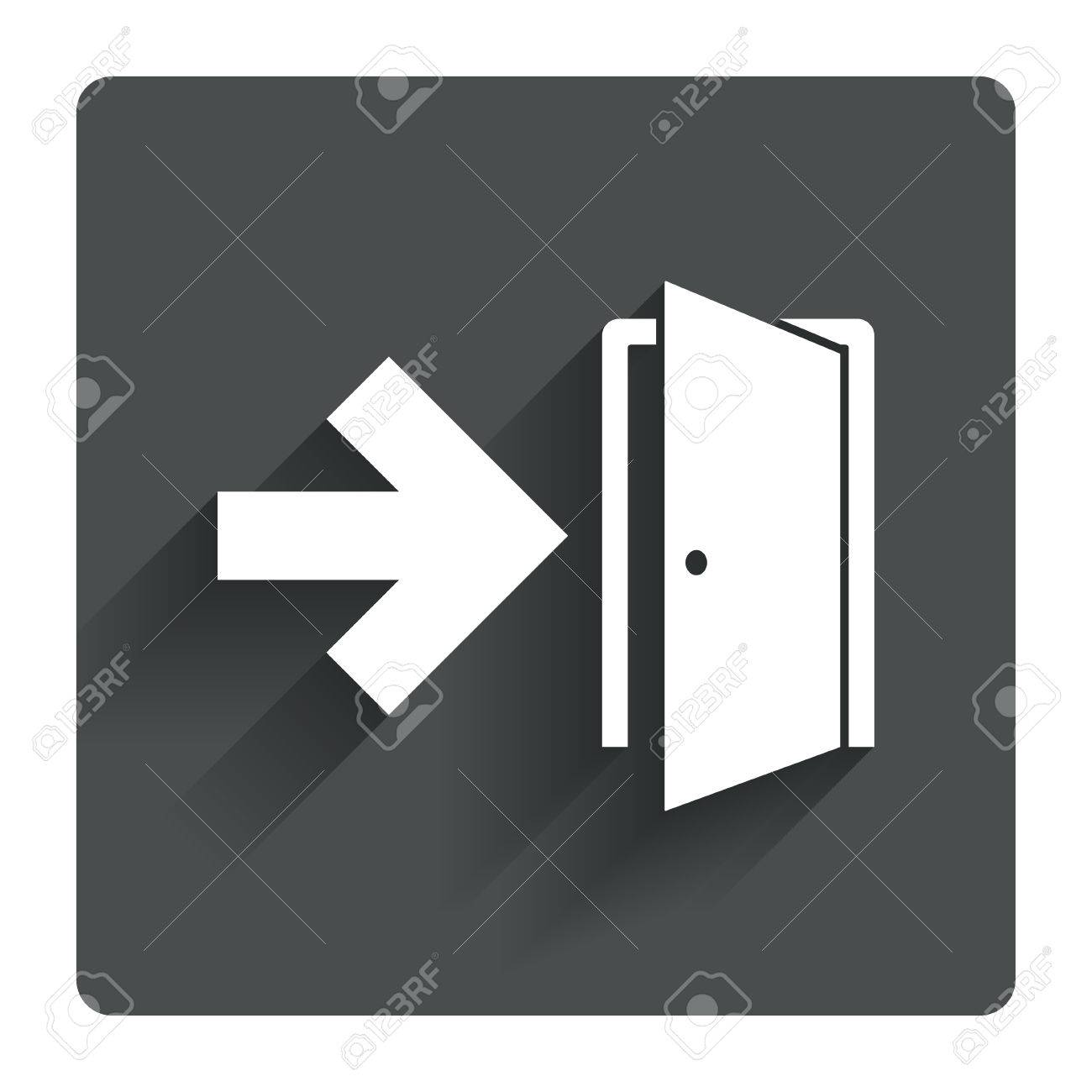 Emergency exit sign icon. Door with right arrow symbol. Fire exit. Gray flat  sc 1 st  123RF.com & Emergency Exit Sign Icon. Door With Right Arrow Symbol. Fire ...