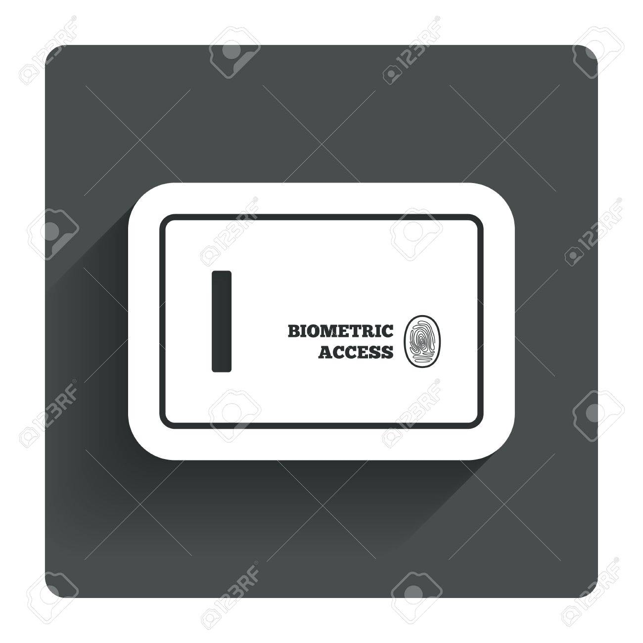 Safe sign icon  Deposit lock symbol  Biometric access by fingerprint