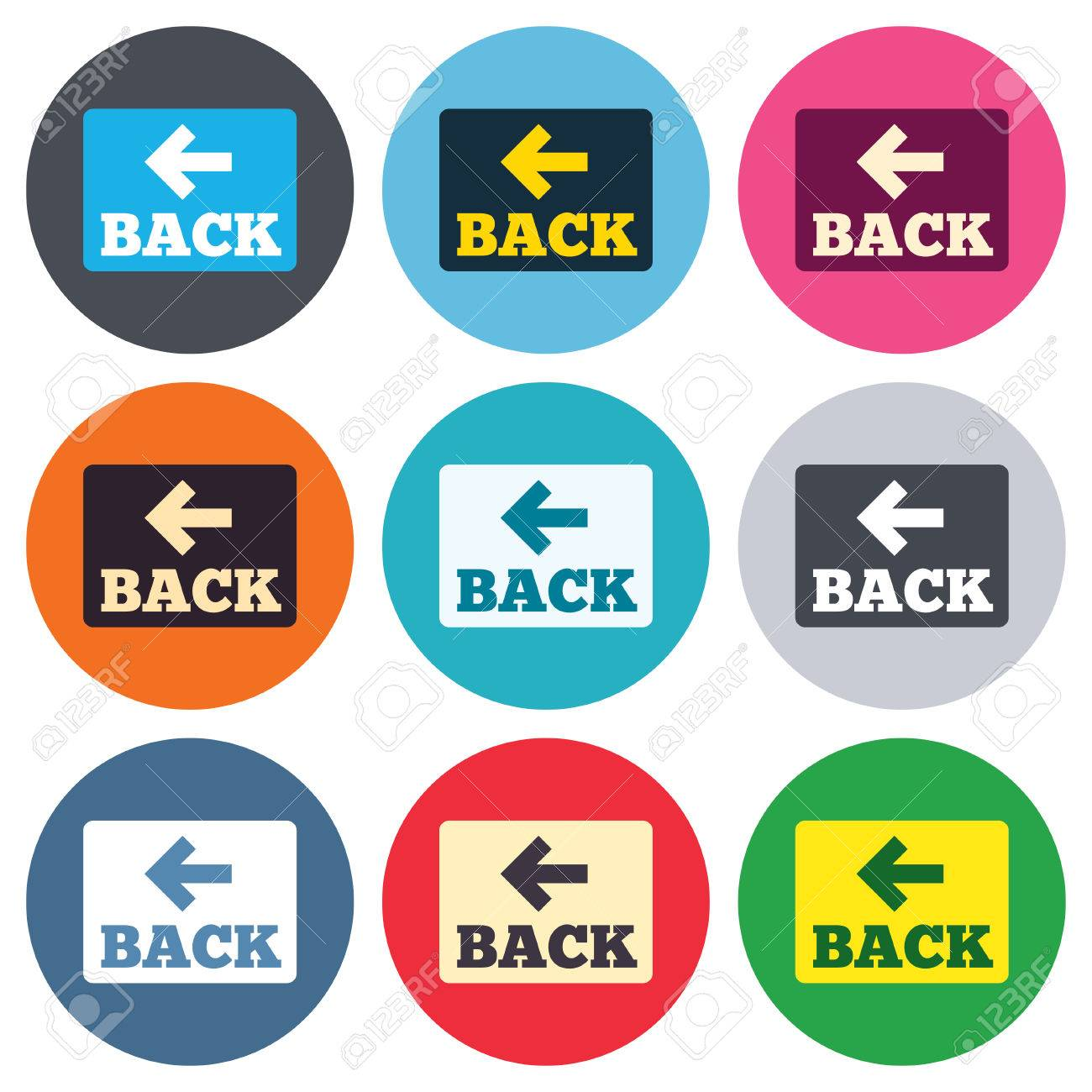 Back Icon Flat Flat Design Circle Icons Set