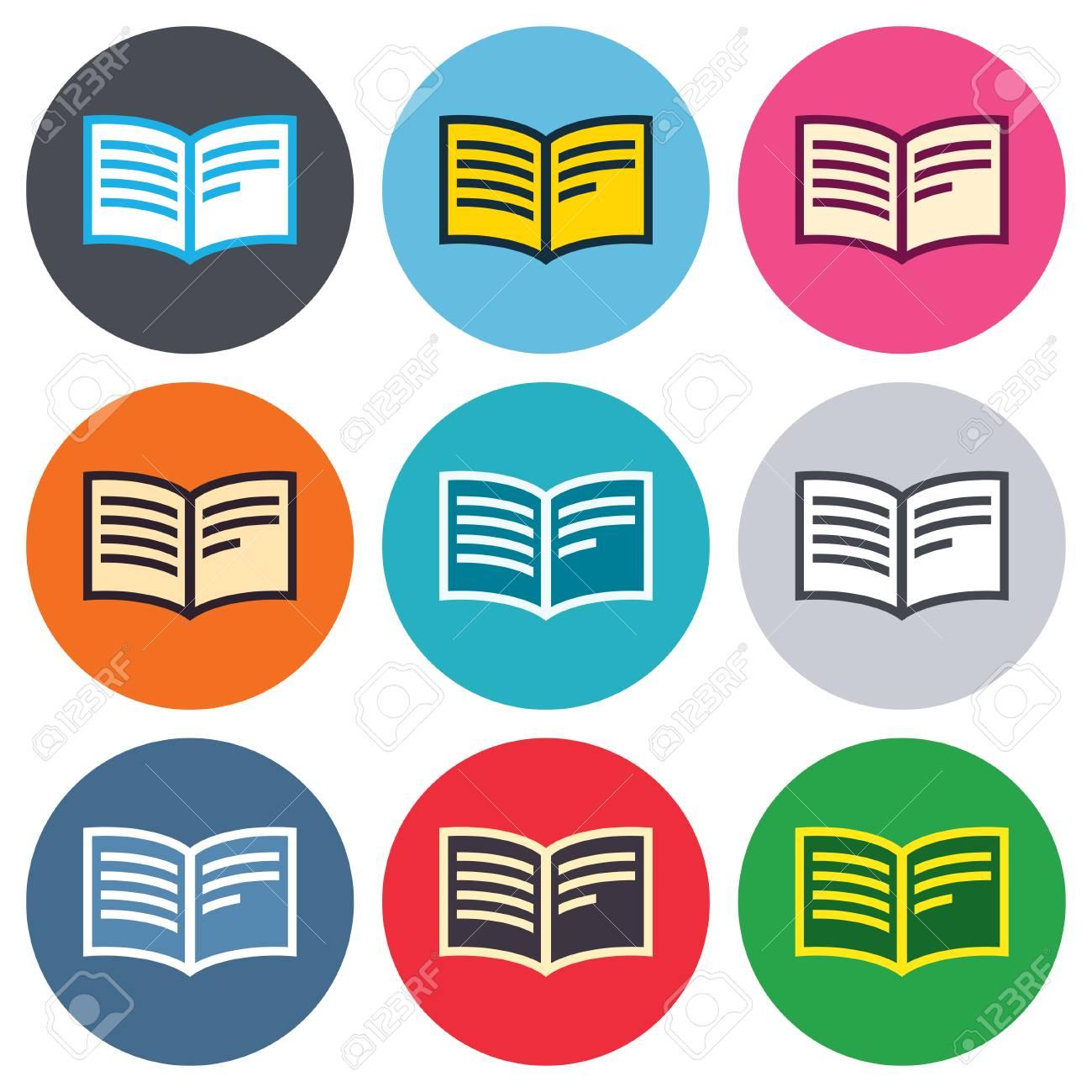 Reserver Signe Icone Ouvrir Symbole De Livre Boutons Ronds De Couleur Appartement Icones Cercle De Conception Fixes Vecteur
