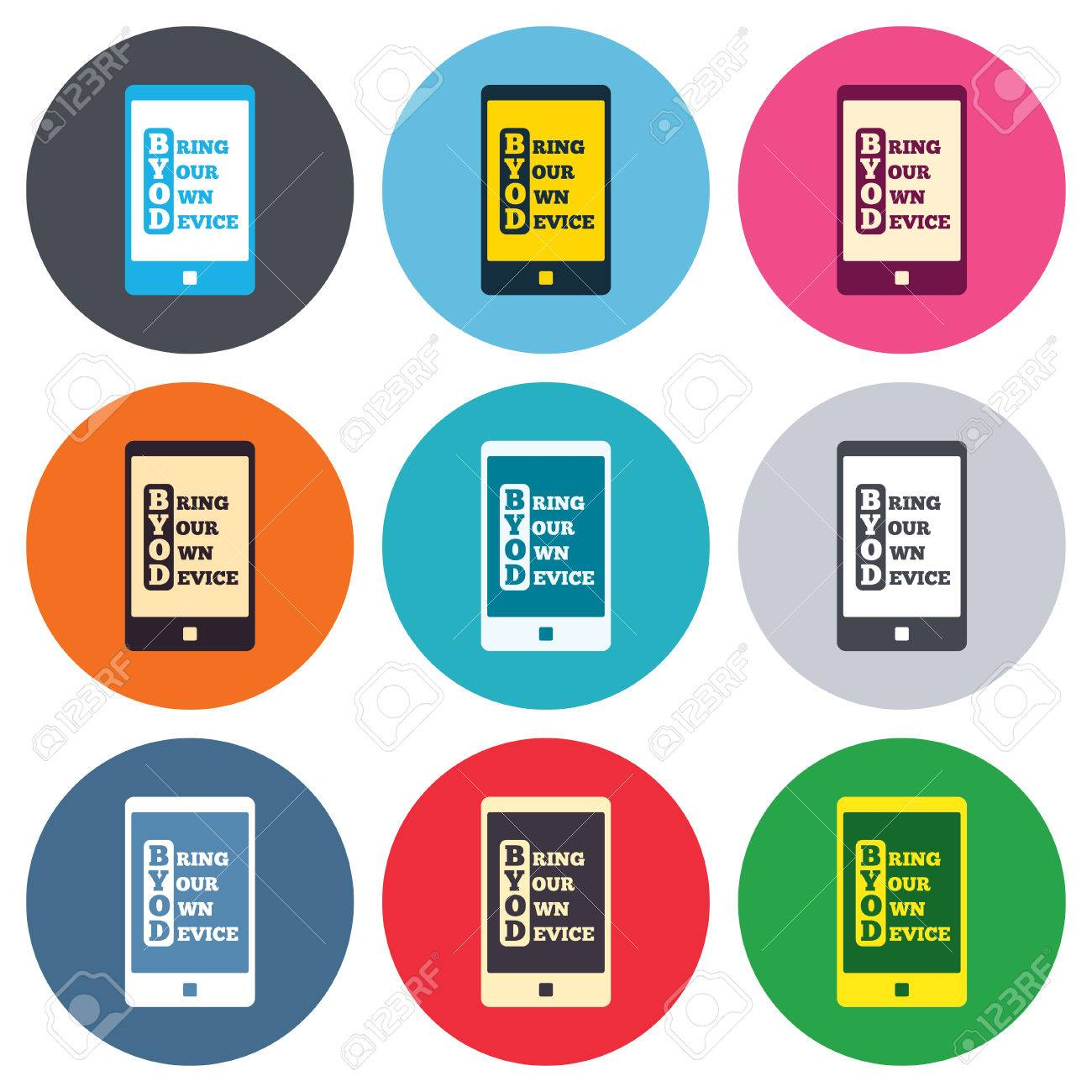 Byod sign icon bring your own device symbol smartphone icon bring your own device symbol smartphone icon colored round buttons biocorpaavc Gallery