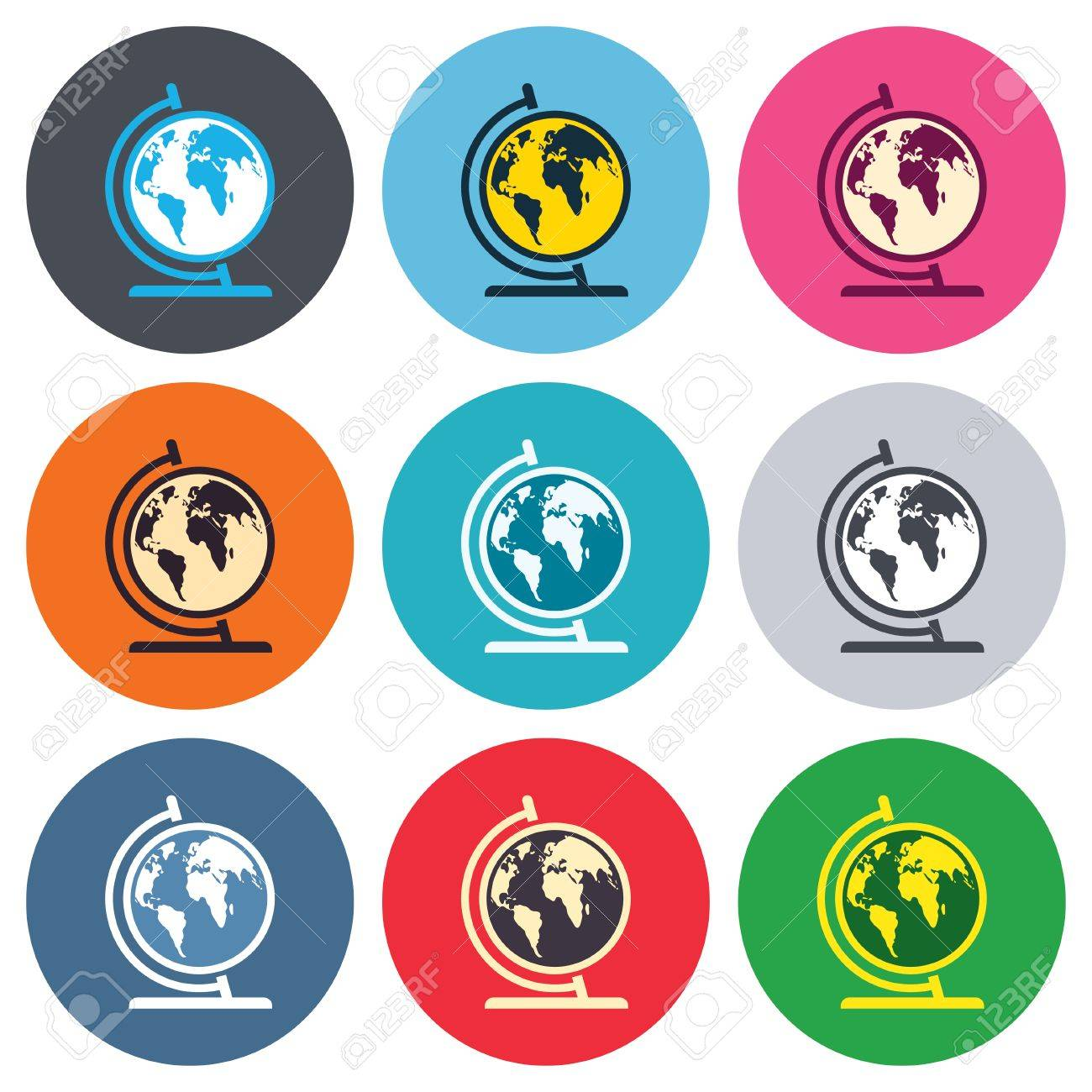 Globe sign icon world map geography symbol globe on stand for world map geography symbol globe on stand for studying colored gumiabroncs Choice Image