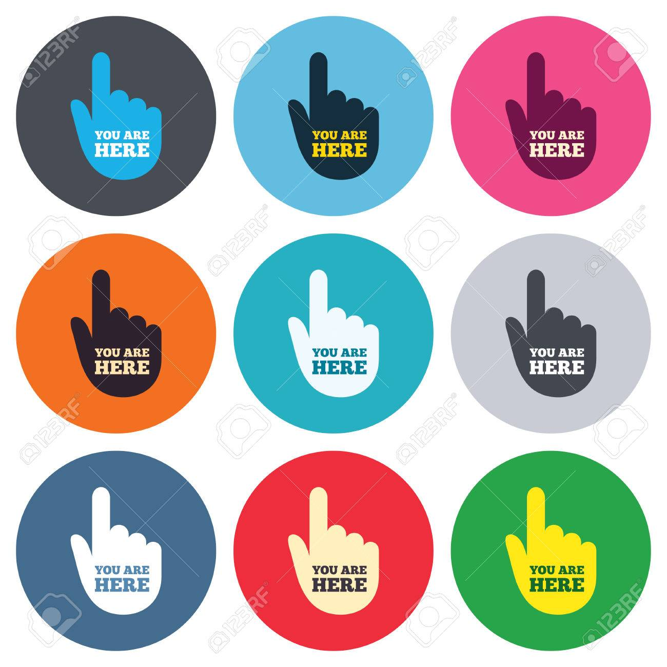 You Are Here Sign Icon Info Symbol With Hand Map Pointer With