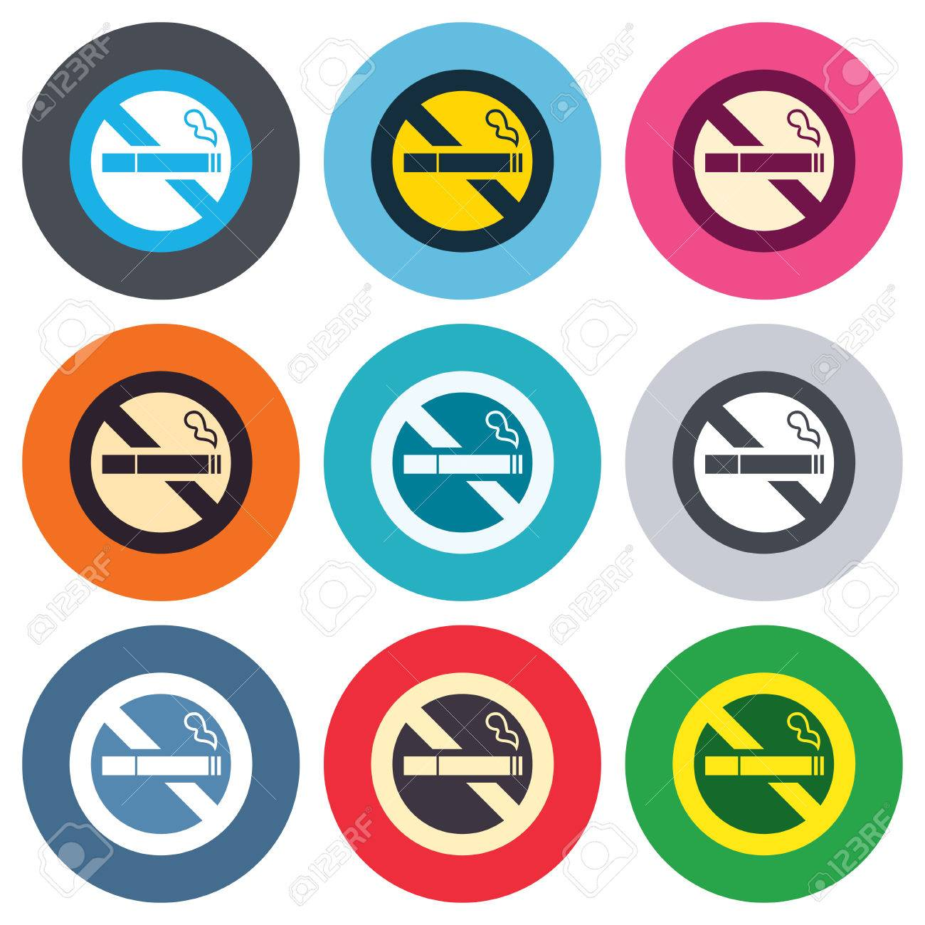 No smoking sign icon quit smoking cigarette symbol colored no smoking sign icon quit smoking cigarette symbol colored round buttons flat biocorpaavc Image collections