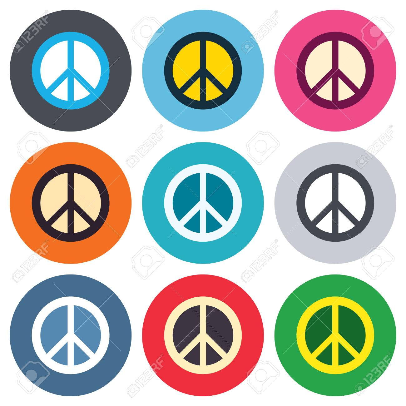 Peace sign icon  Hope symbol  Antiwar sign  Colored round buttons