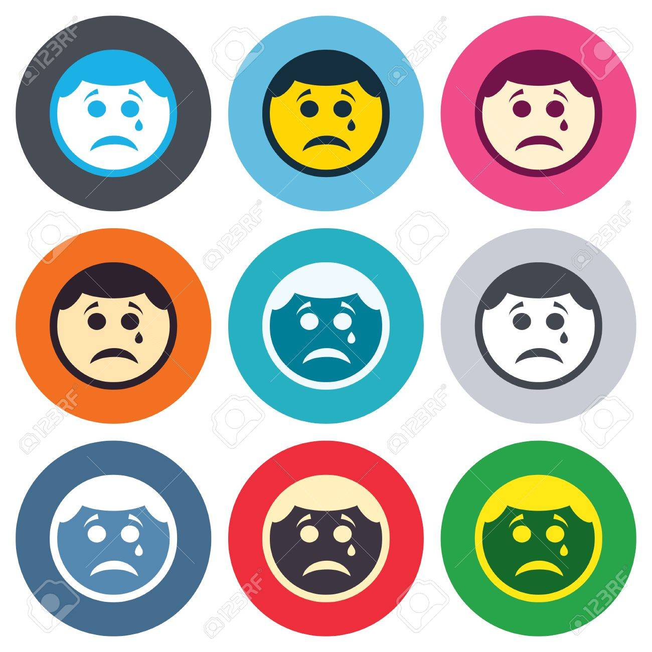 Picture of sad face crying impremedia sad face with tear sign icon crying chat symbol colored round buttons flat buycottarizona Gallery