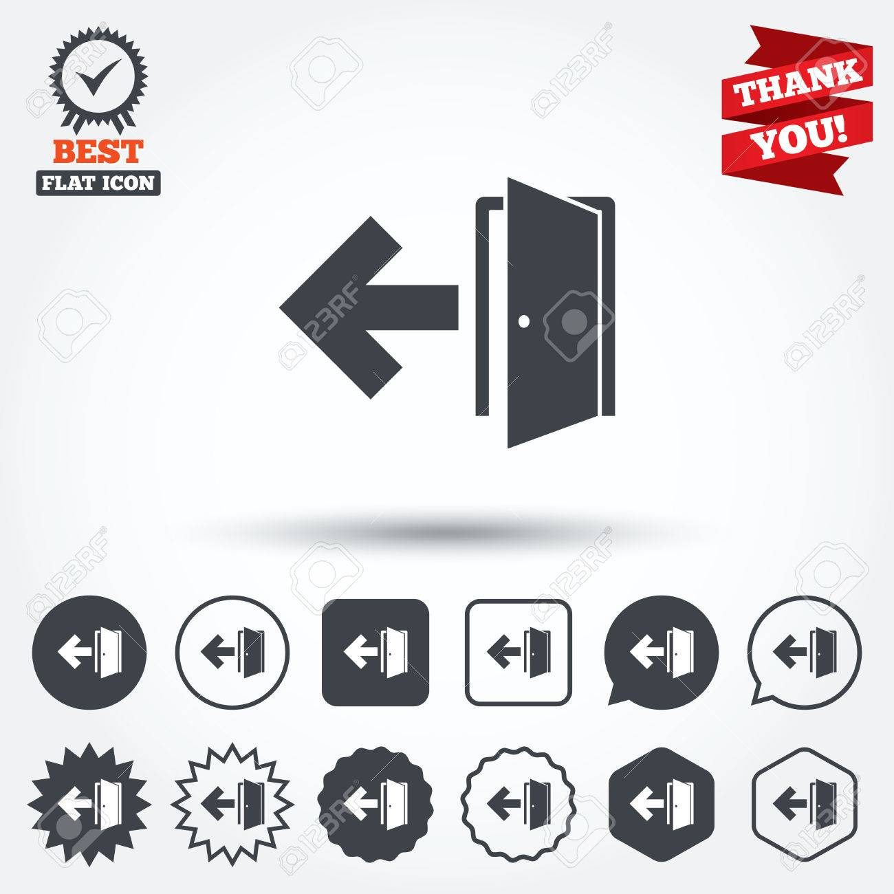 Emergency exit sign icon door with left arrow symbol fire exit emergency exit sign icon door with left arrow symbol fire exit circle buycottarizona Images