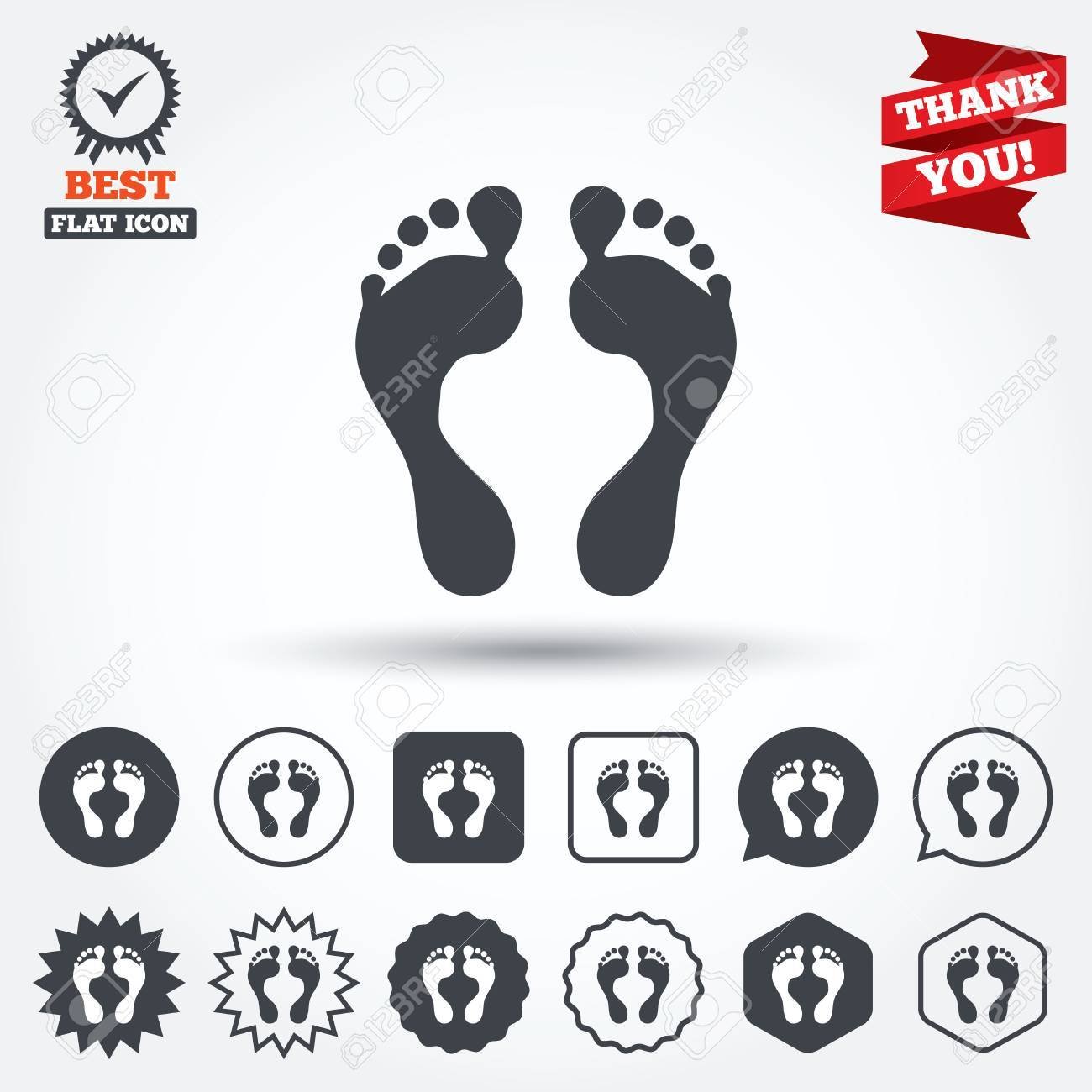 Human footprint sign icon  Barefoot symbol  Foot silhouette