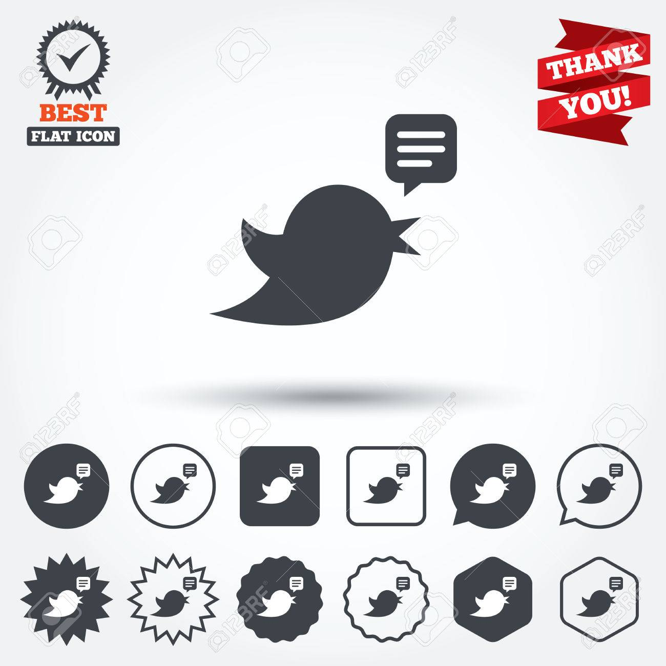 Bird Icon Social Media Sign Short Messages Twitter Retweet