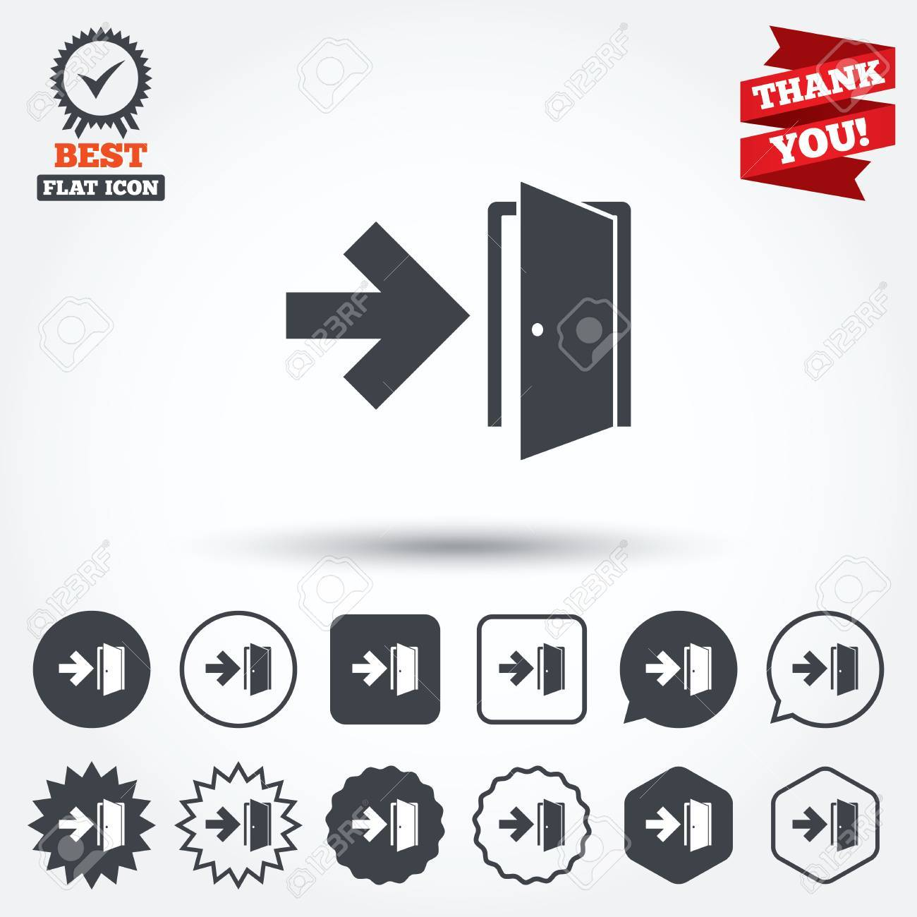 Emergency Exit Sign Icon Door With Right Arrow Symbol Fire