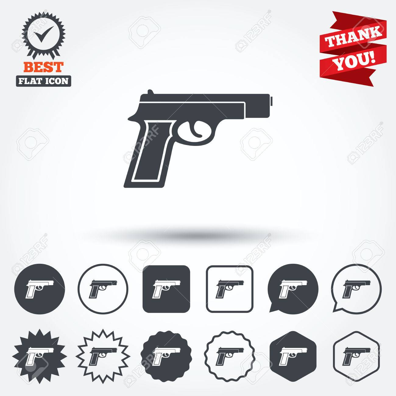 Gun sign icon firearms weapon symbol circle star speech bubble gun sign icon firearms weapon symbol circle star speech bubble and square biocorpaavc Images