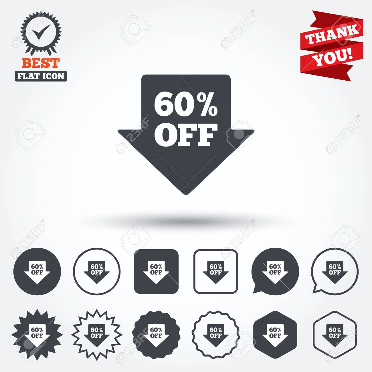 60 Sale Arrow Tag Sign Icon Discount Symbol Special Offer
