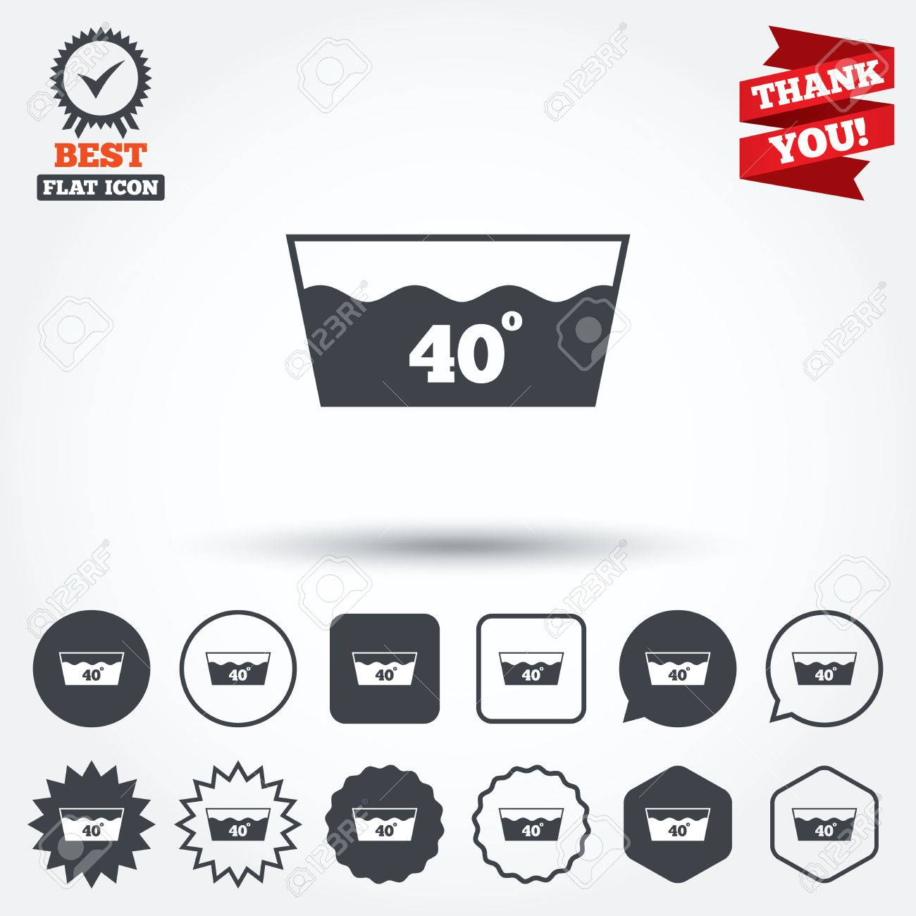 Wash Icon Machine Washable At 40 Degrees Symbol Circle Star