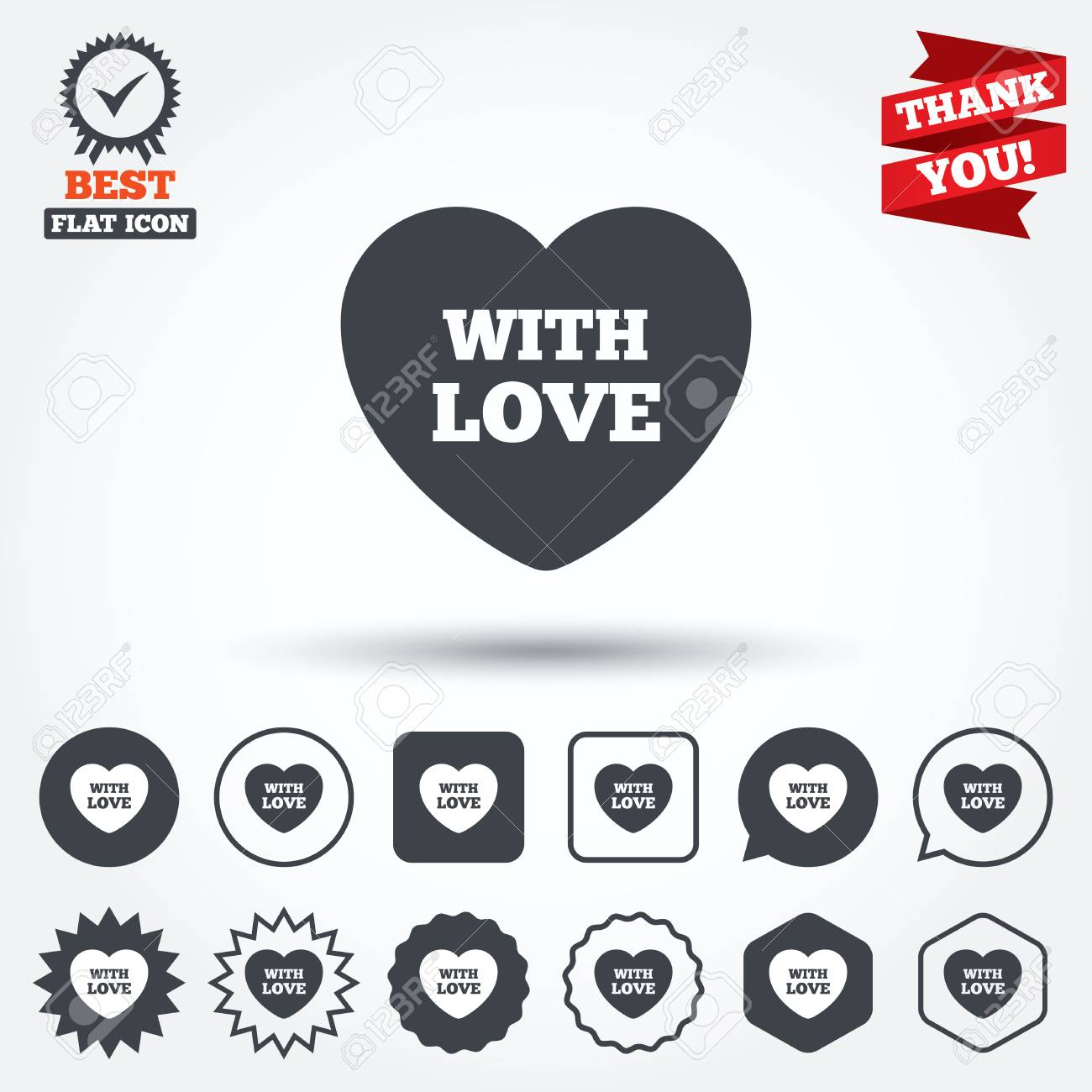 Heart Sign Icon With Love Symbol Circle Star Speech Bubble