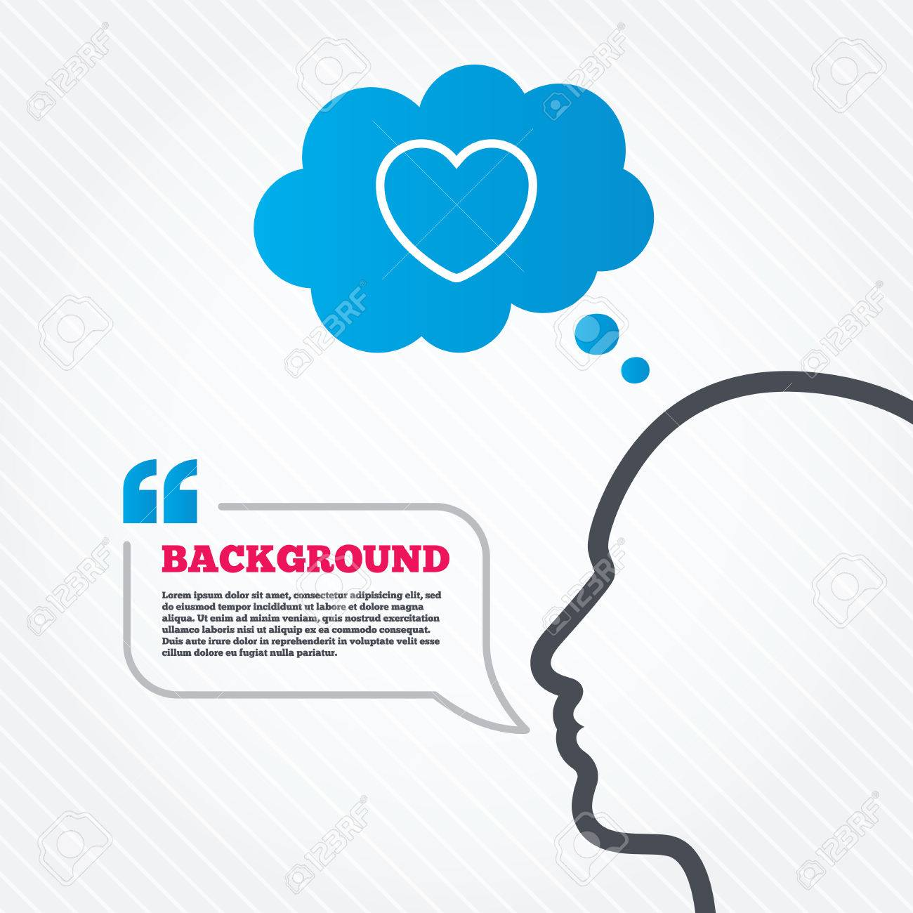 Head with speech bubble Heart sign icon Love symbol Think background with quotes