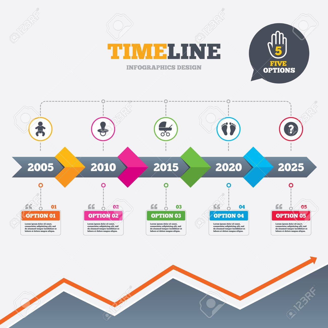 Timeline infographic with arrows baby infants icons toddler boy toddler boy with diapers symbol buggy and dummy signs child pacifier and pram stroller child footprint step sign five options with hand growth chart ccuart Gallery