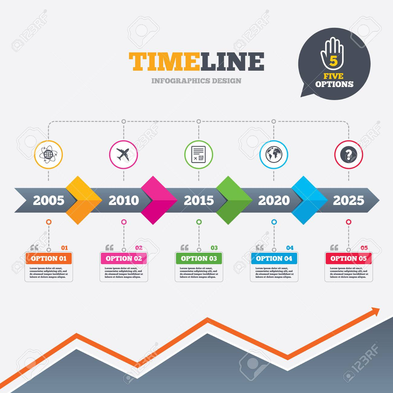 Timeline infographic with arrows  Airplane icons  World globe
