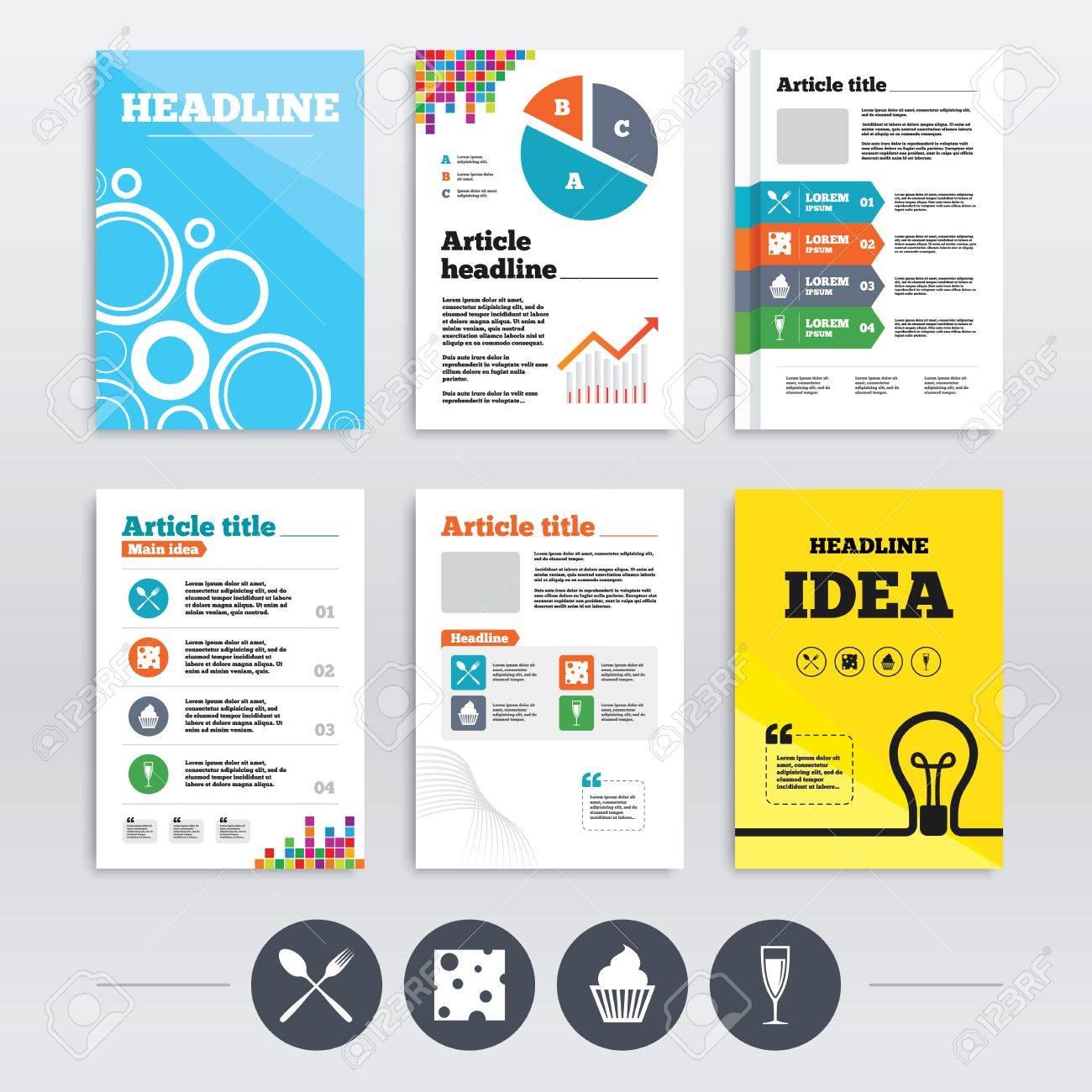 Broschüre Design Und A4 Flyer. Food Icons. Muffin-Kuchen-Symbol ...