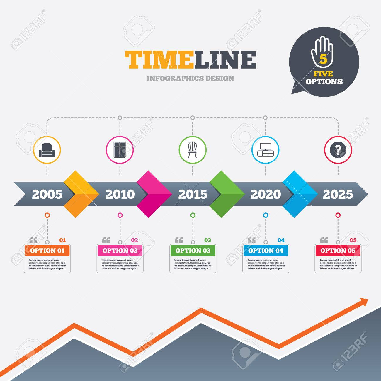 arrows furniture. timeline infographic with arrows furniture icons cupboard chair and tv table signs r