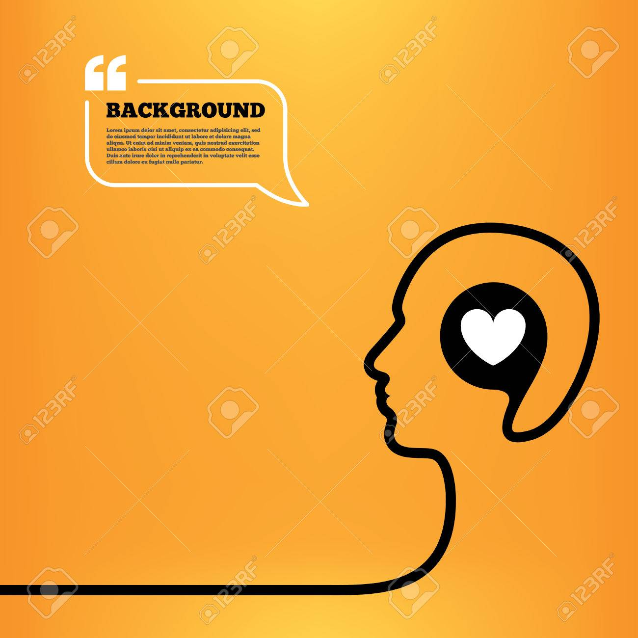 Head think with speech bubble Heart sign icon Love symbol Orange background with