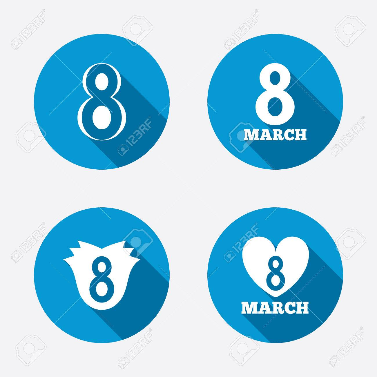 8 March Womens Day Icons Tulip Or Rose Flower And Heart Sign