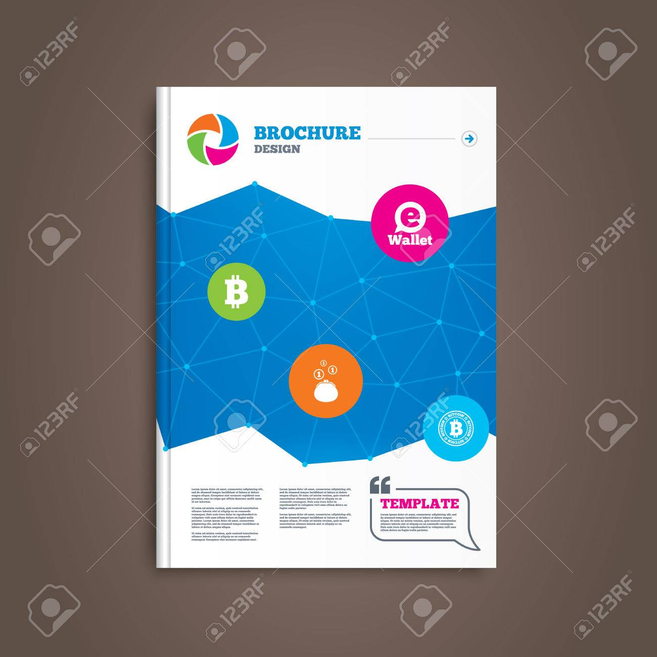Brochure Or Flyer Design. Bitcoin Icons. Electronic Wallet Sign ...
